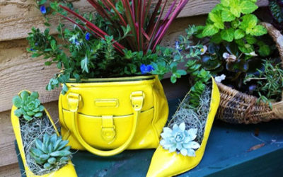 Purses and Totes Turned Planters